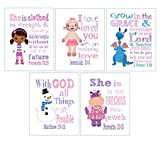 Doc McStuffins Christian Nursery Decor Set of 5 Prints - Dr. McStuffins, Hallie, Lambie, Chilly and Stuffy with Bible Verses