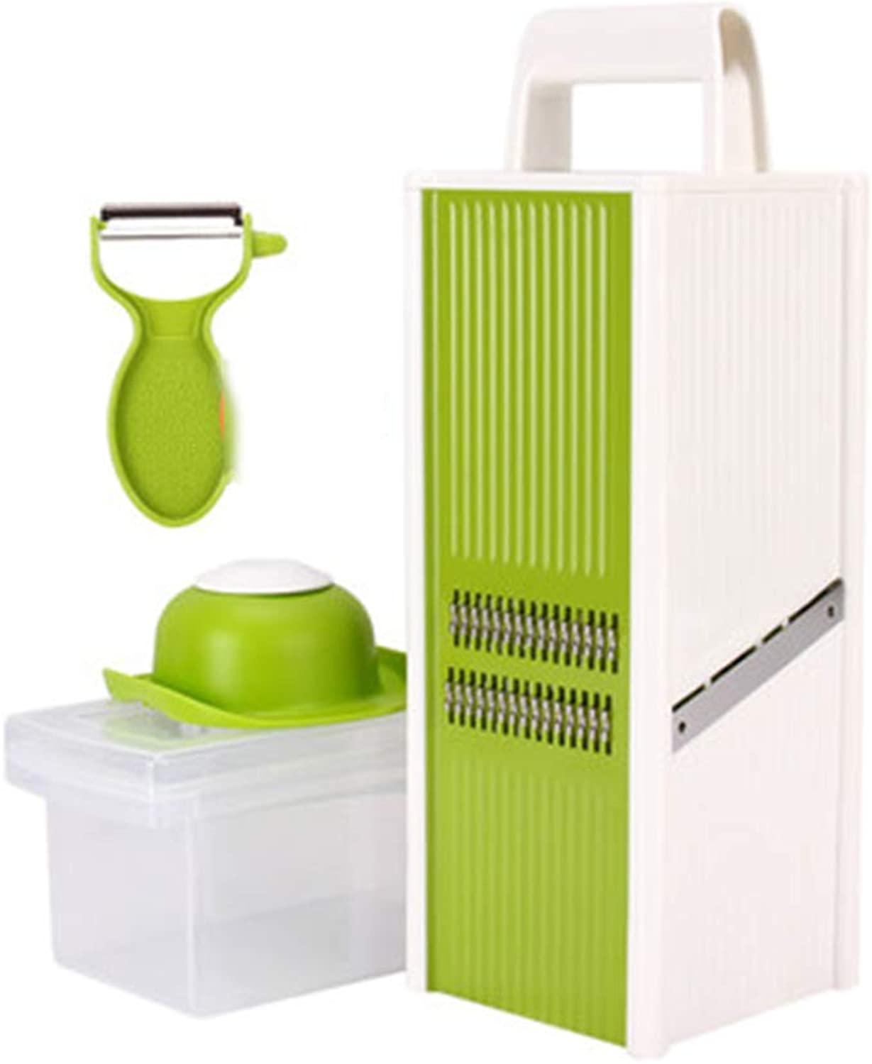 Vegetable Slicer Stainless Steel 4 Sides Cutter with Transparent Storage Container and Fruit Peeler for Vegetable Fruit Ginger Garlic Chopper