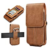 Tiflook Phone Holster for Motorola Moto G8 Power G7 Plus G7 Play G7 Optimo G6 G5S E6S E6 E5 X4 Z3 Z2 PU Leather Cell Phone Belt Holder Carrying Case Pouch with Credit Card Holder Belt Loops,Brown