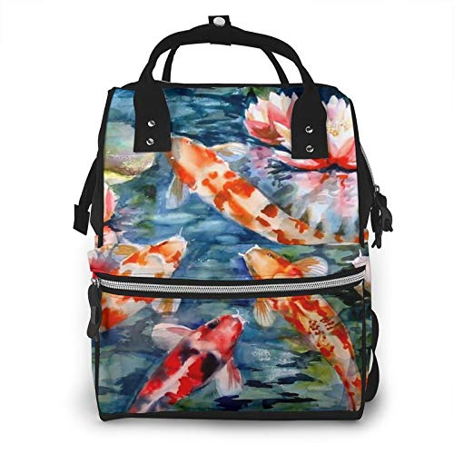 Risating Mummy Backpack - Koi Fish Baby Changing Bags Large Capacity Durable Twill Canvas for Mom Dad