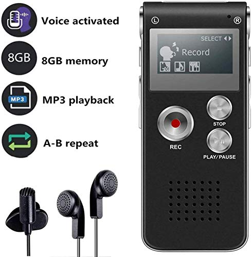 Grabadora de Voz Digital Multifuncional Portátil Recaegable USB con Reproductor de Mp3 para...