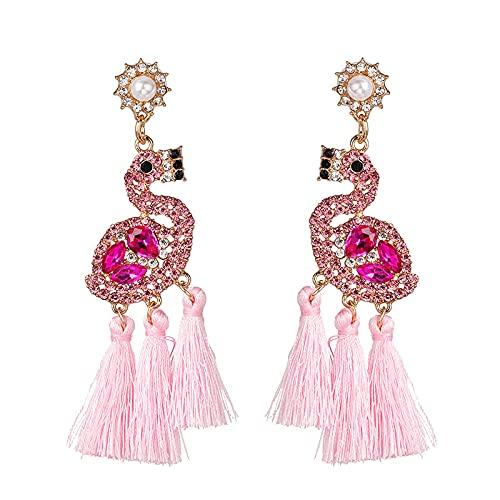 MoHHoM Pendientes para mujer, con diseño de flamenco, colores brillantes, estilo étnico, estilo retro, hipoalergénico, joyería para niñas, moda, fiesta, boda, cumpleaños, regalo, color rosa