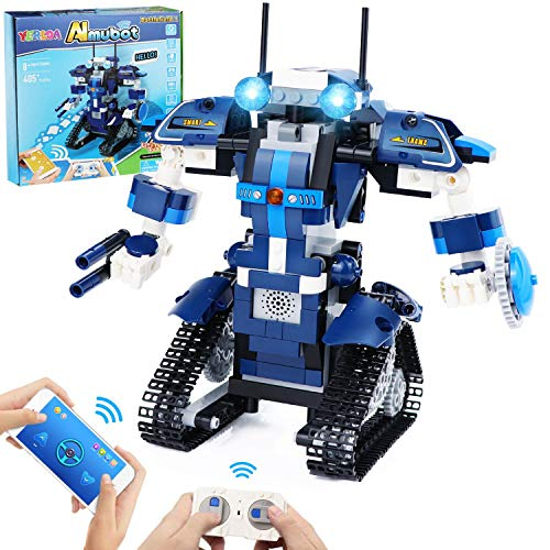 Yerloa Ferngesteuerter Roboter Spielzeug Bausatz Robot Bausteine Educational Kit Engineering STEM Bauspielzeug Intelligentes Geschenk für Jungen und Mädchen (405 Stück)