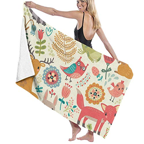 Ewtretr Toalla de Playa Forest Animals Plants Beach Towels Quick Dry Super Absorbent Bathing SPA Pool Towels, 31