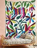Otomi Tapiz mexicano colorido conejo para colgar en la pared, tapiz, tela, papel pintado, decoración del hogar, 152 x 203 cm, tamaño doble