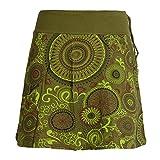 Vishes - Alternative Bekleidung - Kurzer Damen Baumwoll-Rock Bunt mit Mandalas und Blumen Bedruckt