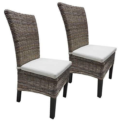 Rattanstuhl Kubo 2er Set/Gartenmöbel/Set mit 2 Stühlen & Kissen/weiße Bezüge/Rattan/Balkonmöbel/Küchenstühle/Esszimmerstühle/