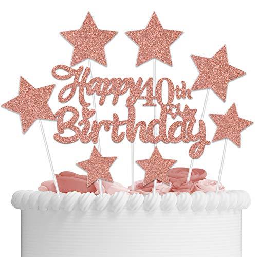 VAINECHEY Decoraciones Pasteles Topper Pastel Decoracions Cumpleaños Happy Birthady Cupcake Toppers Magdalena Tarta Cumpleaños Niños Niñas Rosegold 40 Años