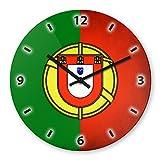 Wanduhr mit Motiv - Portugal Flagge | Echt-Glas | R& | Küchenuhr | Modern
