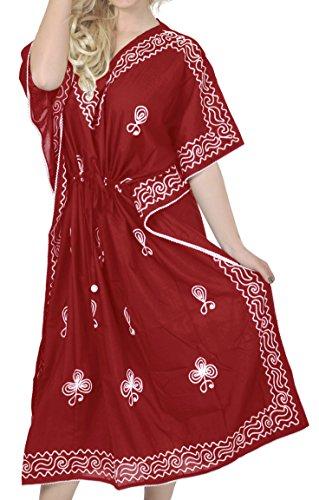 LA LEELA vrouwen dames Rayon Kaftan tuniek geborduurd kimono vrije maat lange maxi party jurk voor loungewear vakantie nachtkleding strand elke dag jurken W