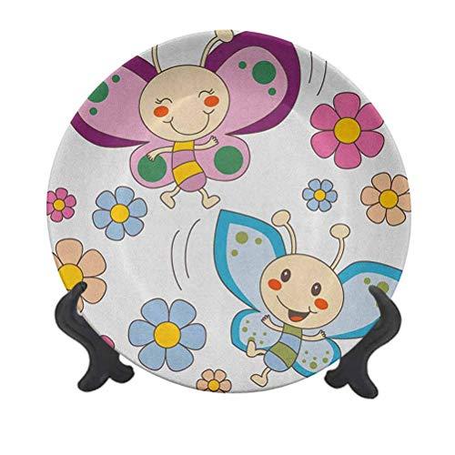 Plato decorativo de cerámica de 25,4 cm, diseño de mariposas, color lila y azul, color lila y azul