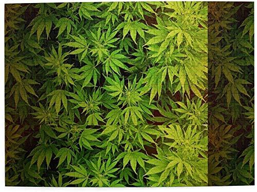 Art Picture Rompecabezas de madera con hojas de marihuana Rompecabezas para adultos, adolescentes, divertido juego familiar para colgar, decoración del hogar, 500 piezas, 15,7 x 23,6 pulgadas