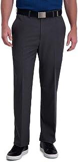 Haggar Men's Cool Right Performance Flex Stria Classic Fit Flat Front Pant Casual Pants