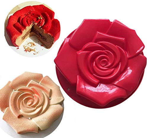 FantasyDay 11' Rose Flower Birthday Cake Mold Silicone Cake Baking Pan / Silicone Mold for Anniversary Birthday Cake, Loaf, Muffin, Brownie, Cheesecake, Tart, Pie, Flan, Bread and More #1