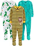 Simple Joys by Carter's Boys' 3-Pack Snug Fit Footed Cotton Pajamas, dino/animals green/lion, 12 Months