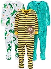 Simple Joys by Carter's pijama de algodón para bebés y niños pequeños, 3 unidades ,Dino/Animals Green/Lion ,6-9 Meses