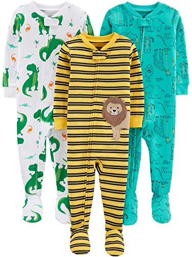 Simple Joys by Carter's 3-Pack Snug Fit Footed Cotton Pajamas Bebé-Niños