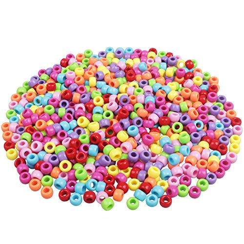 HUASUN Pony Perlen, Perlen Zum Auffädeln, 600pcs 9mm Bunte Bastelperlen Kleine Acryl Perlen Lose Perlen, für Schmuckbasteln, Geburtstagsgeschenk für Mädchen, Kinder Armband Haarband Schmuck
