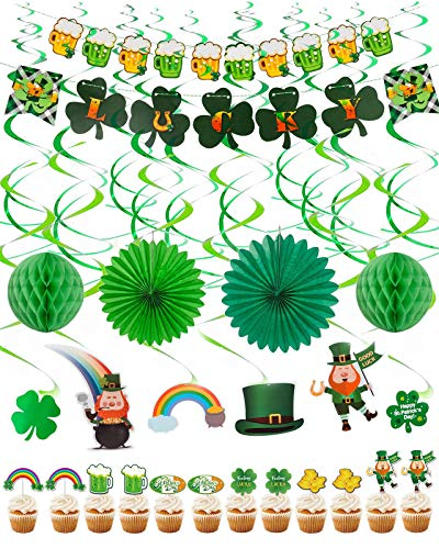 St. Patrick's Day Party Decorations, 30 Pieces Irish St. Patrick's Day Hanging Swirls with Lucky Green Shamrock, Leprechauns, Saint Patrick Poms, Banners, Cupcake Toppers for Lucky Day Home Office Decoration Party Supplies Decor