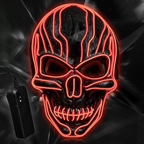 YALANLE LED Maske Purge Maske für Halloween Fasching Karneval Party Kostüm Dekoration Halloween Maske Rot