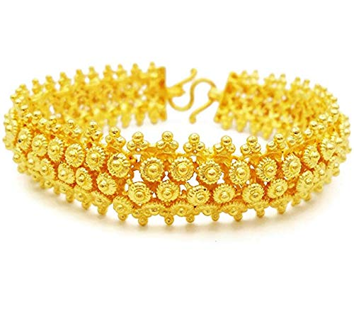 Thai gold Jewelry Pikun Flower Lai Thai Gold Plated Bangle 22k 24k Thai Baht Yellow Gold Filled Bracelet