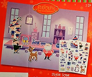 Rudolph The Red Nosed Reindeer Sticker Scene Activity ~ Holiday Christmas Stocking Stuffer