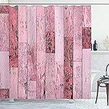 ABAKUHAUS Holz-Druck Duschvorhang, Rosa getönte rustikale Planken, Bakterie Schimmel Resistent inkl. 12 Haken Waschbar Stielvoller Digitaldruck, 175 x 200 cm, Pink Baby Pink & grau