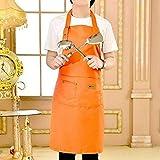 Delantal Delantal De Lona Impermeable Lavable Delantal De Barbacoa Jefe De Camarero para Cocina Herramientas De Limpieza Naranja