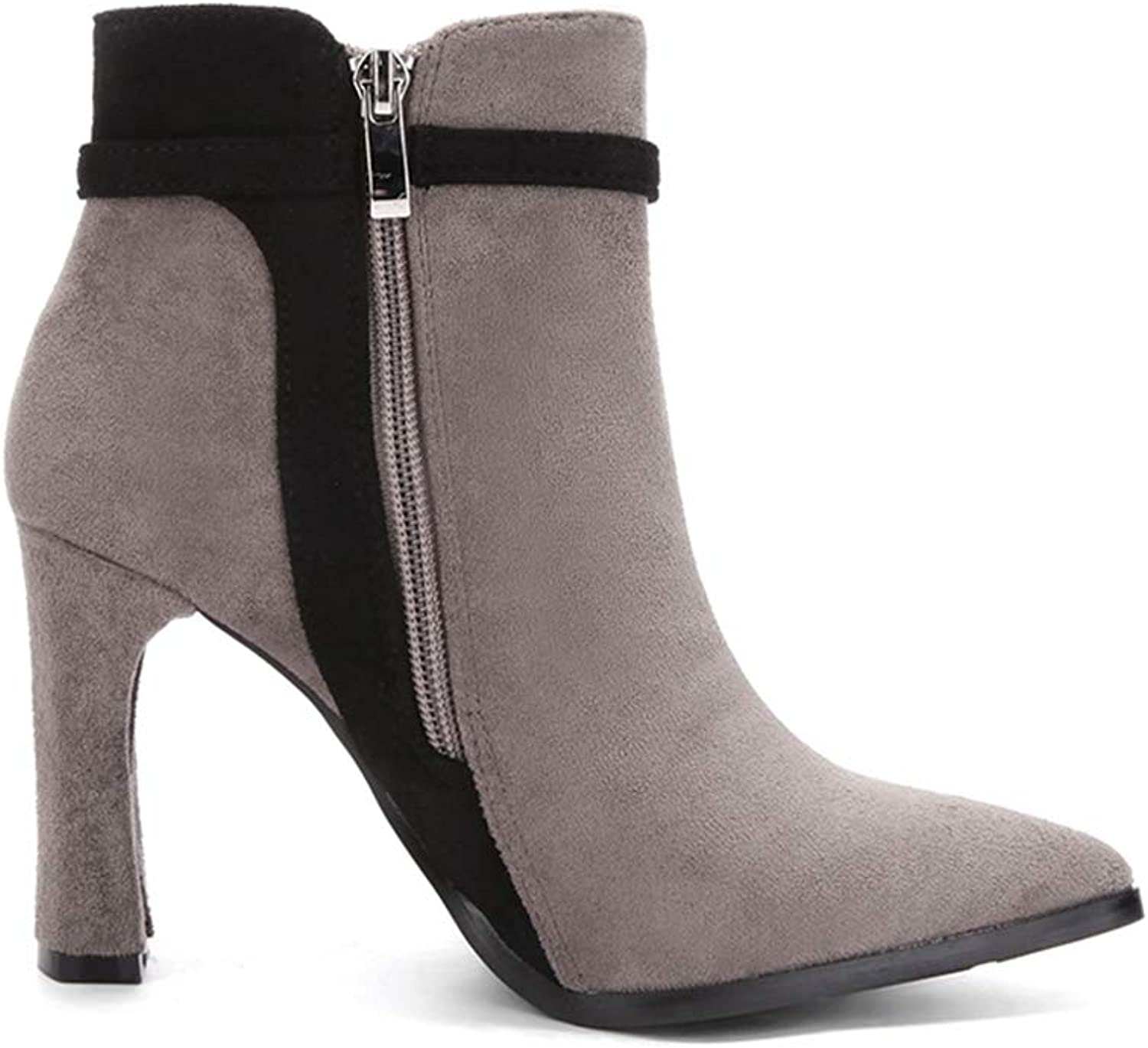 T-JULY Winter Women Solid European High Heel Ankle Boots Ladies Suede Leather Fashion Martin Boots