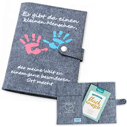 Mutterpasshülle aus Filz von Homery, hochwertiges Geschenk zur Schwangerschaft, Geburt oder Baby-Party - extra viele Fächer und Verschluss (Hände, Deutscher Mutterpass)
