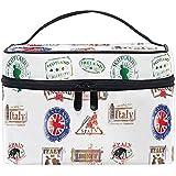 Estuche de tren de maquillaje de viaje grande España Inglaterra Italia Sello con bolsa de cepillo cosmético portátil con bolsa Organizador de bolsa de maquillaje