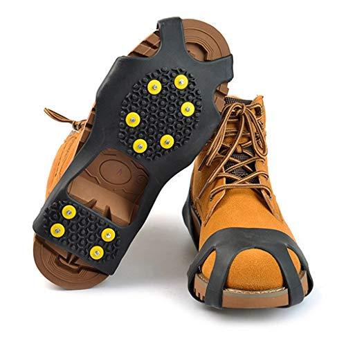 Momolaa Schuh-Spikes Steigeisen mit 10 Zähne - Anti Rutsch Schuhspikes für Schuhe in Größe 31-47 - für Winter Walking Wandern Bergsteigen (45/47 EU)