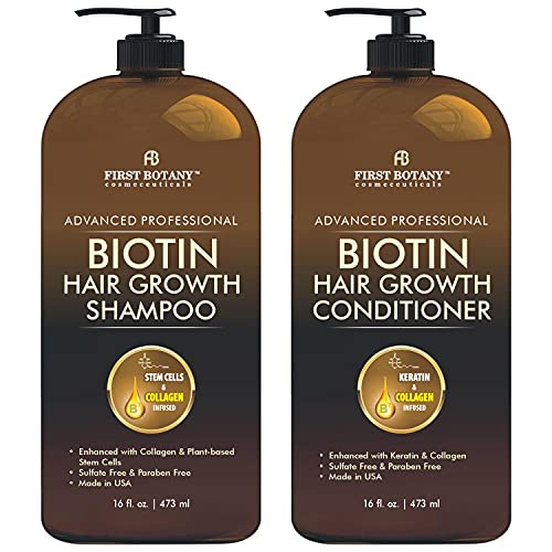 Biotin Hair Growth Shampoo Conditioner - An Anti Hair Loss Set Thickening formula, Collagen & Stem Cell For Hair Regrowth, Anti Thinning Sulfate Free For Men & Women Anti Dandruff Treatment 16 oz x2