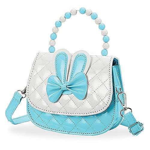 Czemo Kinder Umhängetasche Mädchen Handtasche Klein PU Leder Schultertasche Geldbeutel Verstellbarer Schultergurt Kindertasche Mädchen Spielzeug (Blau)