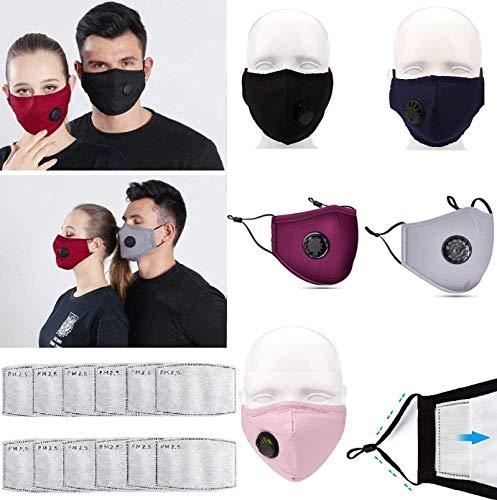 Freefa Colori 5 Fasce filtranti viso bocca naso con valvola di respirazione and 15pezzi Filtro Carboni Attivi cinque Strati lavabili riutilizzabili assorbenti tessuto batteriostatico