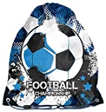 Ragusa-Trade Fussball Soccer Fan Turnbeutel, Sportbeutel, Gymnastikbeutel, Gymsac, Schuhbeutel (PPFO), blau, 38 x 34 cm
