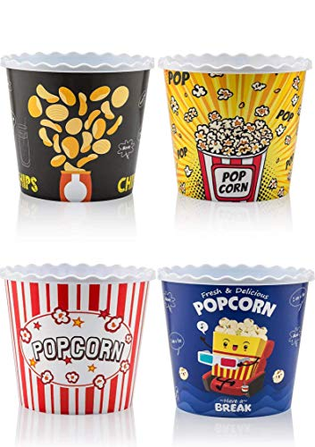 Modern Style Reusable Plastic Popcorn Containers / Popcorn Bowls Set for Movie Theater Night