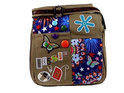 Umhängetasche Canvas Style mit aufgenähten Patches, Buttons und floralem Muster - Maße 28 x 29 cm - Damen Mädchen Teenager Tasche (khaki)
