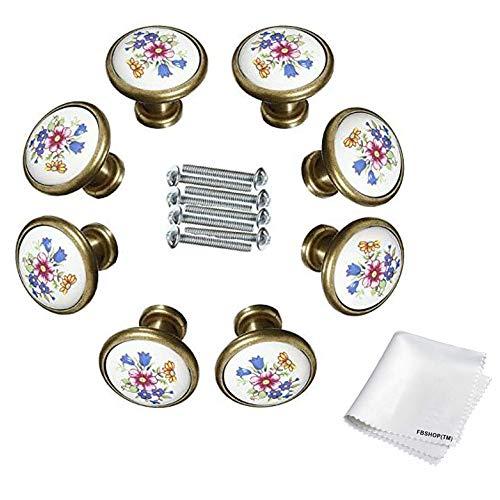 FBSHOP(TM) 8PCS 32mm Fai da te Vintage Fiore a forma di fungo Bronzo antico Ceramica Perno di portello Cassetto estraibile maniglia Cabinet / Armadi / Armadio porta Pomello