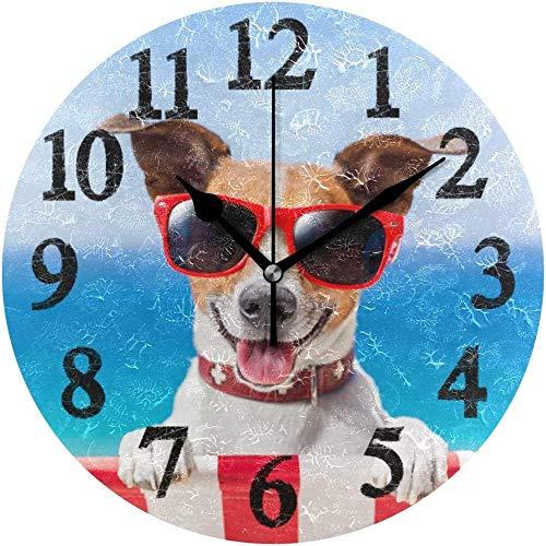 AZHOULIULIU Co.,ltd Seaside Dog On Fancy Tumbona Reloj de Pared Redondo Cocina Dormitorio Sala de Estar Aula Oficina Reloj