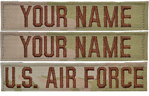 Custom 3 Piece USAF 3-Color OCP Name Tape with Hook Fastener