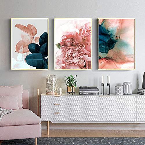 Póster nórdico de hojas de flores color rosa verde y verde para pared de decoración de sala de estar, 50 x 70 cm x 3 sin marco