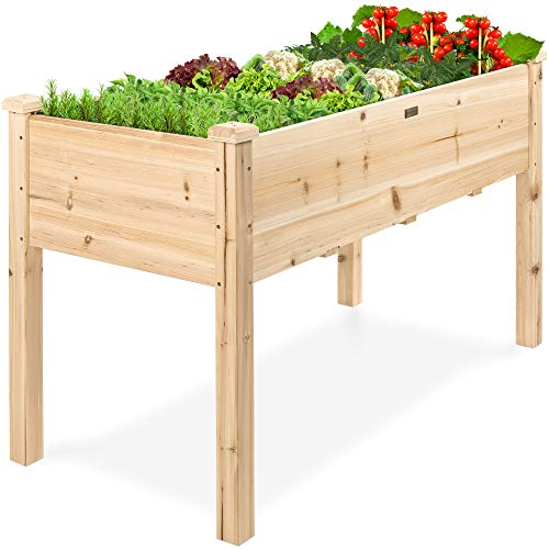Best Choice Products Raised Garden Bed 48x24x30in Elevated Wood Planter Box Stand for Backyard, Patio - Natural
