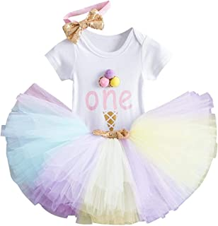 First Birthday Clothes for Baby Girl 1st Crown Romper+Ruffle Tulle Skirt+Bow Headband 3PCS Party Dress Set Smash Cake Outf...