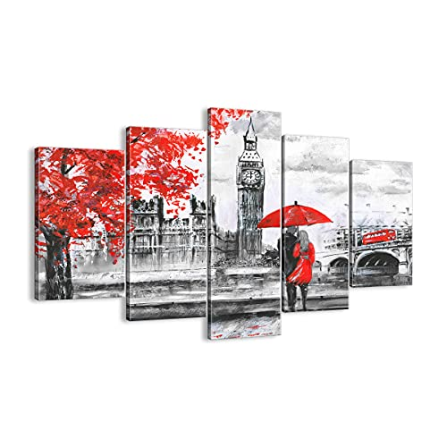 ARTTOR Quadro su Tela - 5 Parties - Londra l'architettura Il Big Ben - 150x100cm - Pronto da Appendere - Home Decor - Stampe su Tela - Quadri Moderni - Completamente incorniciato - EA150x100-3153