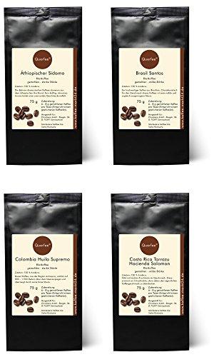 4 x Kaffee Geschenkset Probierset - Äthiopischer Sidamo, Brasil Santos, Colombia Huila Supremo, Costa Rica Tarrazu Hacienda Salomon - 100 % Arabica Röstkaffee - gemahlen - 4x75 g (300g)