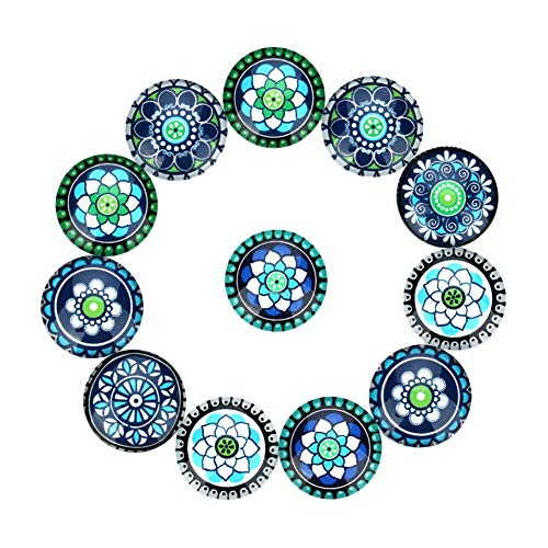 Weanty 20 piezas Colgante Bandejas Parte posterior plana Mosaico Redondo Cristal impreso Parche inferior Cabuchones Cúpulas Parches de camafeo mixto Ajuste Cabochons DIY Craft Jewelry Kit