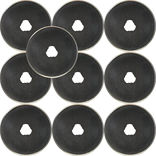 45mm Rotary Cutter Blades (10 PACK) - Fits All : Fiskars & Olfa - Replacement Blade Set, Best for Quilting, Sewing & Fabric
