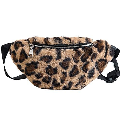 Riñonera para mujer, diseño de leopardo, de felpa, ajustable, para mujer