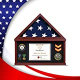 flybold Flag Display Case Large Military Shadow Box Burial Memorial Funeral Flag Display Frame for 5' x 9.5' Folded Flag with Certificate Holder for Army Navy Air Force Veterans Mahogany Finish